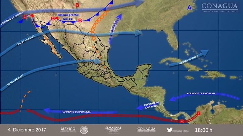 Vienen lluvias y agua nieve para el próximo miércoles a Chihuahua